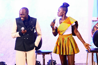 Akothee with Larry Madowo in the trend show. PHOTO | Courtesy