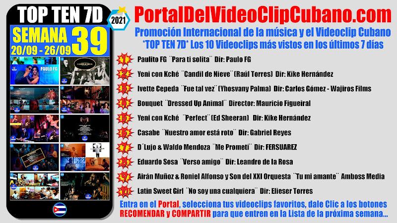 Artistas ganadores del * TOP TEN 7D * con los 10 Videoclips más vistos en la semana 39 (20/09 a 26/09 de 2021) en el Portal Del Vídeo Clip Cubano
