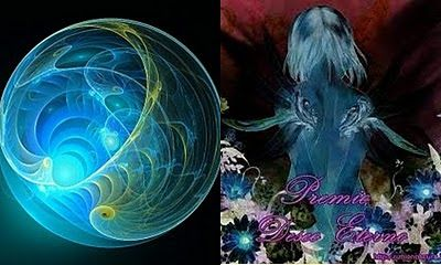 Premios Deseo eterno y Hermosos blogs. Hada con colores invertidos y esfera luminosa con formas