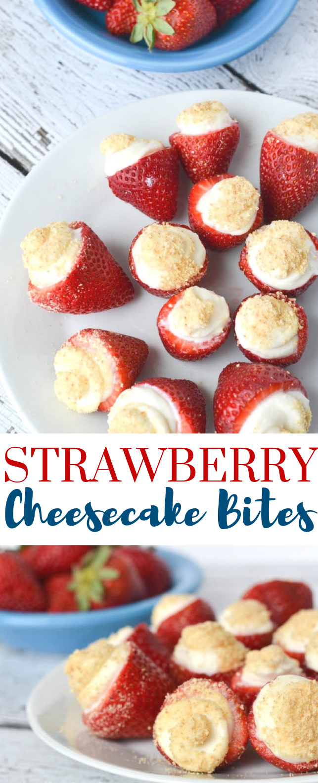 NO BAKE STRAWBERRY CHEESECAKE BITES #Dessertforparties #Sweets