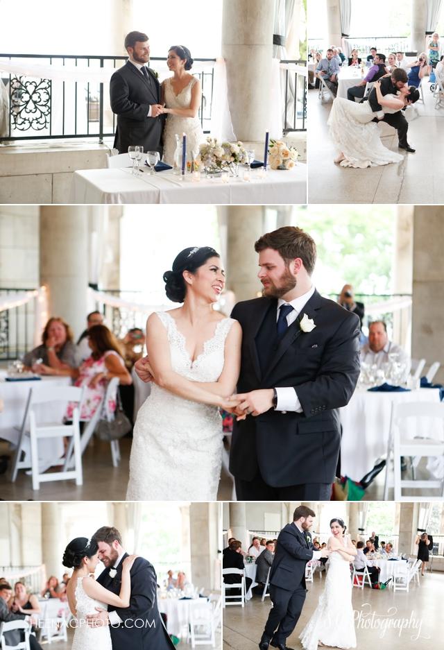 Bride and groom dancing at the veranda at the whitcomb in saint joseph michigan