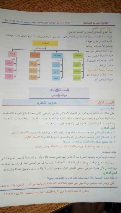 حل الوحدة الأولى,تاريخ الصف الثامن,الفصل الدراسي الاول 2019-2020