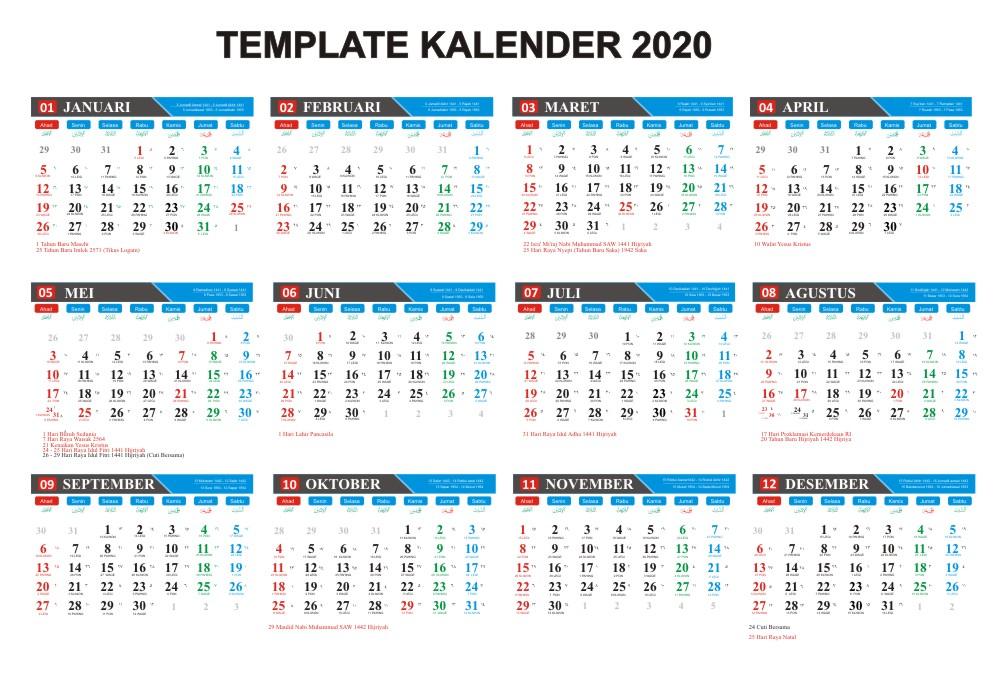 kalender indonesia tahun 2020 cdr jpg pdf masehi hijriyah jawa