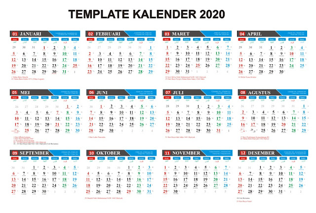 Download Kalender 2020 Masehi / 1441 Hijriyah Corel Gratis Bisa Edit