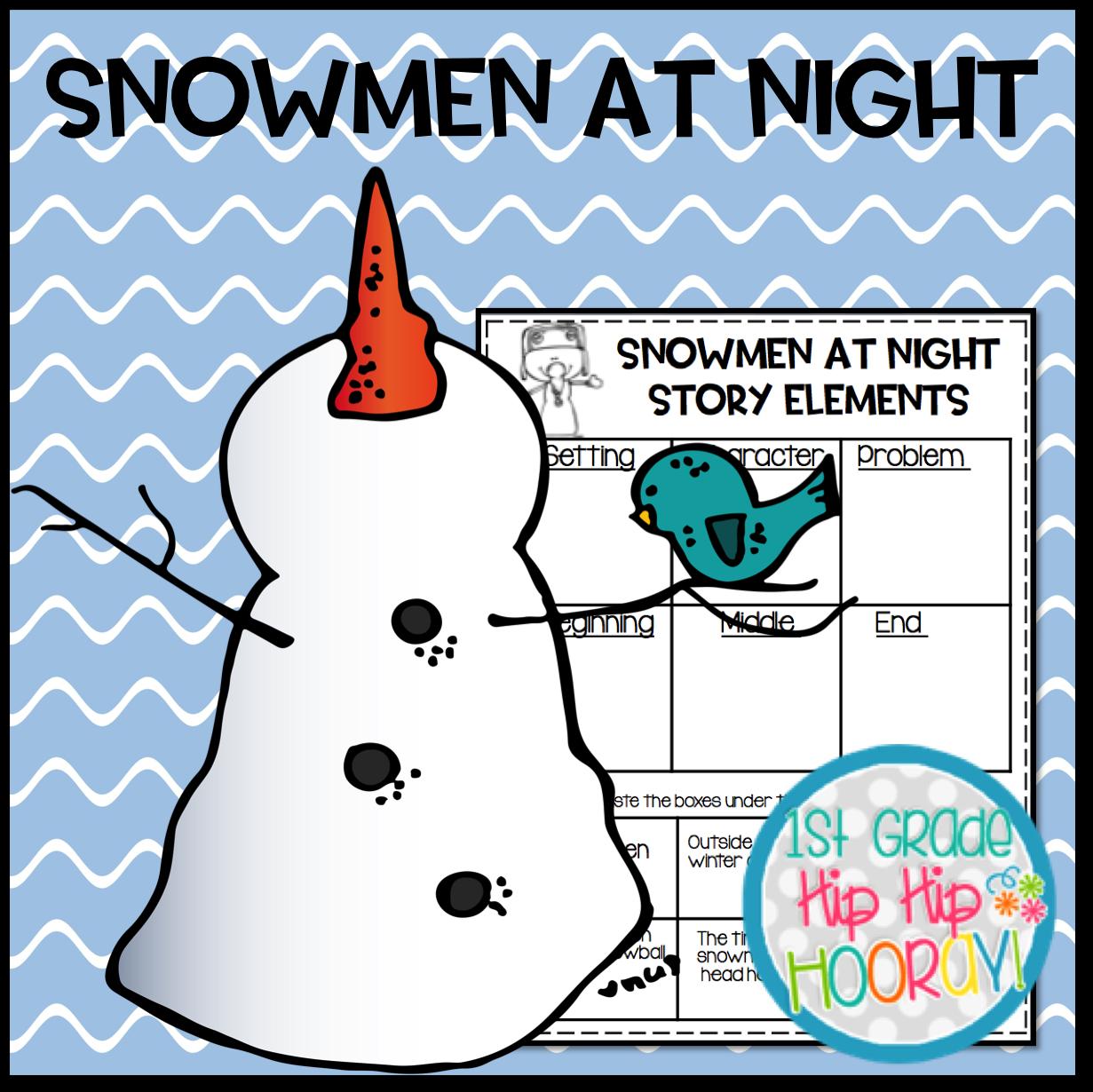 1st Grade Hip Hip Hooray Snowmen At Night A Free