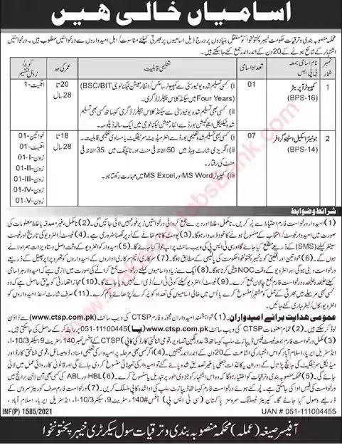 New Jobs in Pakistan Planning and Development Department KPK Jobs 2021 | Download Application Form