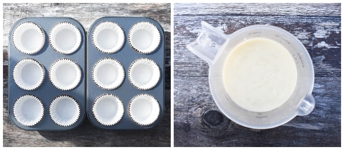 Making raspberry & white chocolate cupcakes - step 1 - Lining a muffin tray with cases and measuring milk