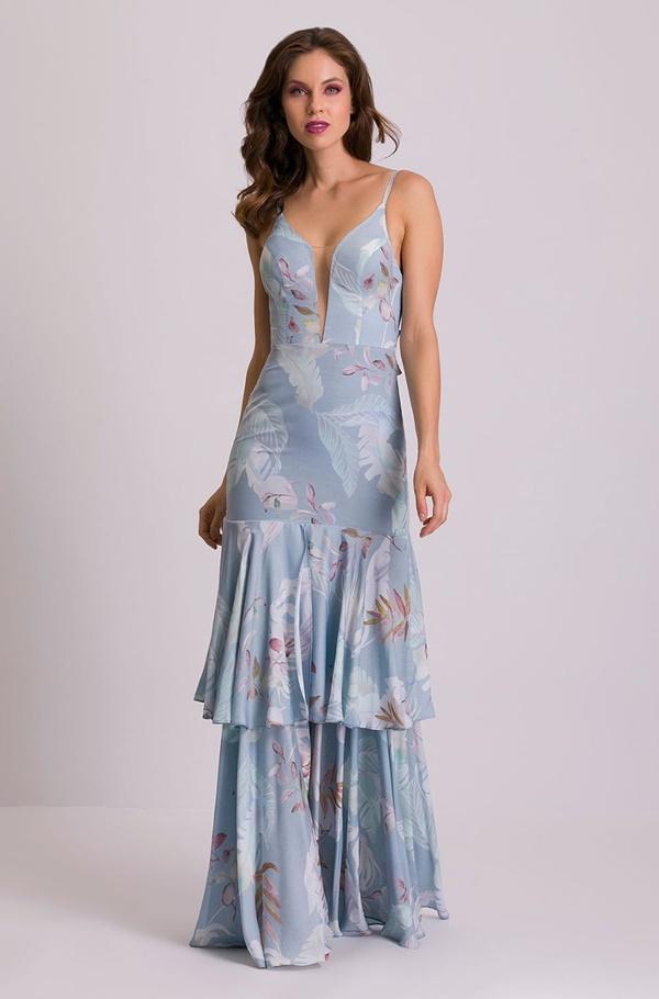 vestido longo azul serenity estampadopara madrinha de casamento