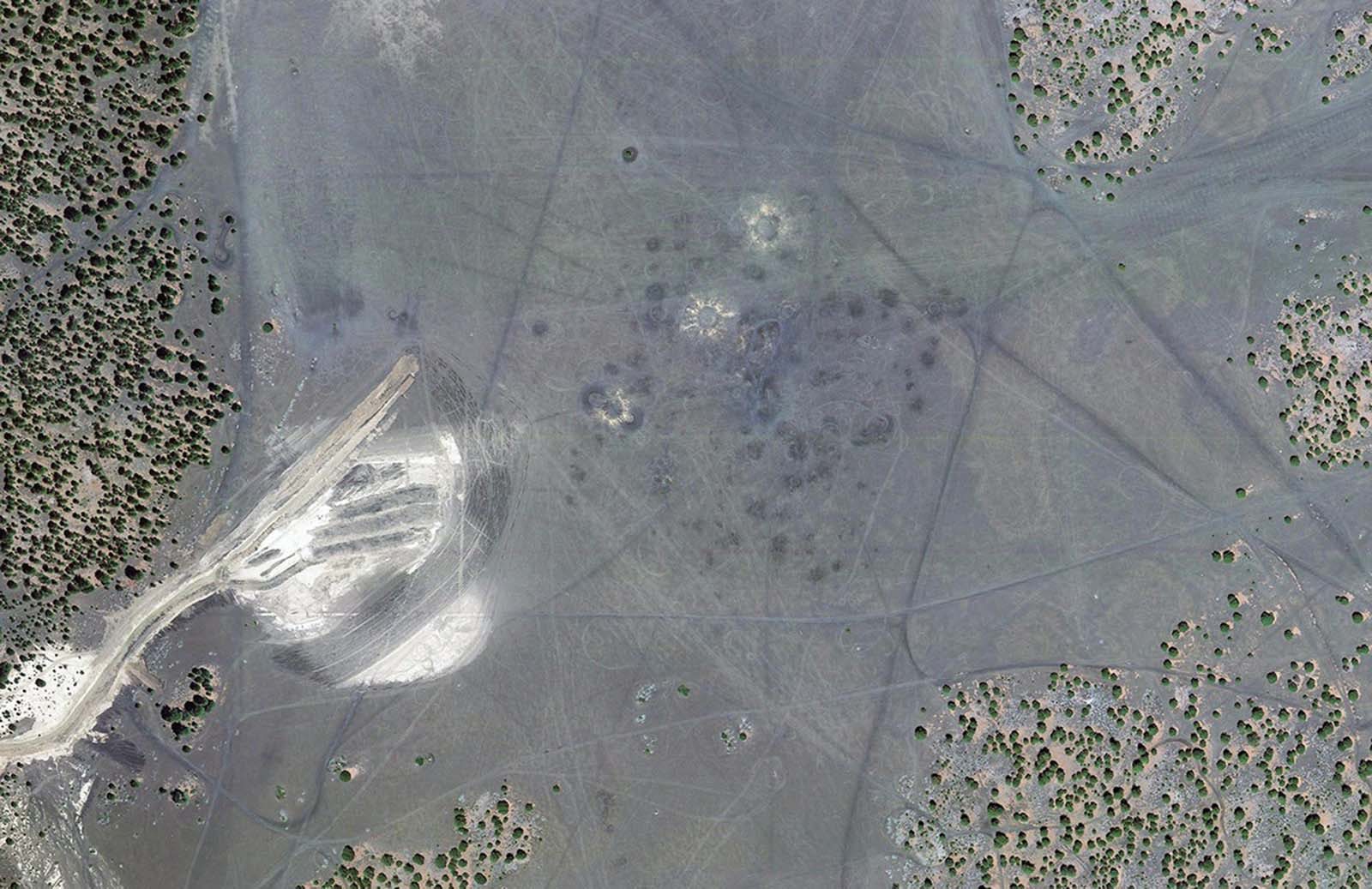 A modern satellite view, made in 2011, of Cinder Lake Crater Field #2, north of Flagstaff, Arizona, decades after its use as a lunar training location.