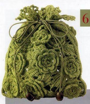 Bolsa de croche com flores de crochê passo a passo tipo sacola