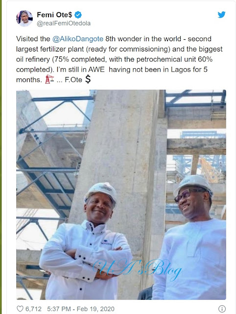 'It's 8th wonder of the world' — Otedola hails Dangote's oil refinery