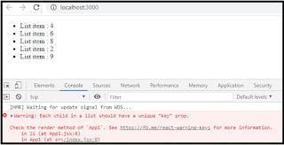 map list item key missing error
