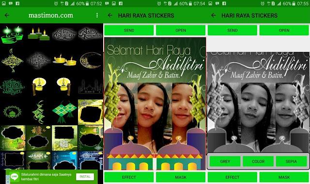 Aplikasi android ucapan hari raya Idul Fitri menggunakan bingkai dan foto sendiri
