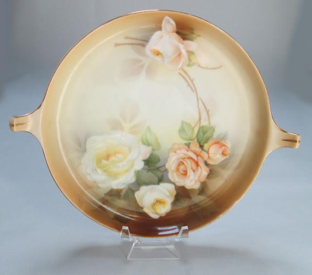 Tidbit Plate 1932-1938 Rose Covered RS Tillowitz Reinhold Schlegelmilch Gilded