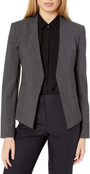 Trendy Dark Grey Blazers Jackets for Women