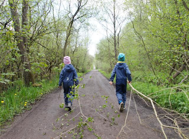 Küsten-Spaziergänge rund um Kiel, Teil 6: Der Rundweg um den Langsee. Die Kinder finden auf jedem Spaziergang in Schleswig-Holstein Stöcke und nehmen sie mit auf den Rundkurs.