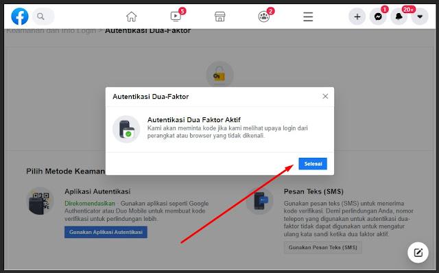 pengaturan autentikasi dua faktor Facebook selesai