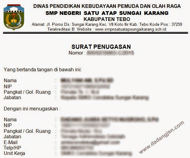 Contoh Surat Tugas Operator Sekolah Verval Pd Sd Smp Sma