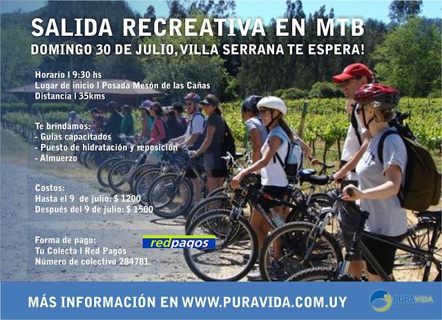 MTB - Salida recreativa en Villa serrana con Pura Vida (Lavalleja, 30/jul/2017)