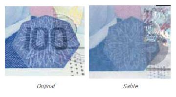 Gerçek ve sahte 100 TL banknot üzerindeki gizli görüntü efektlerinin karşılaştırılması