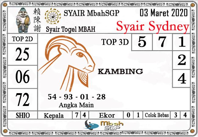 Prediksi Togel Jitu Sidney Selasa 03 Maret 2020 - Syair Mbah SGP