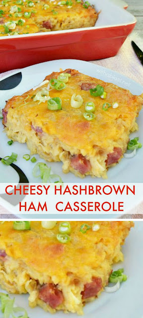 Most versatile recipe ! Cheesy Hashbrown Ham Casserole is ideal for breakfast, lunch or even dinner {and you can substitute the meat with chicken etc !}