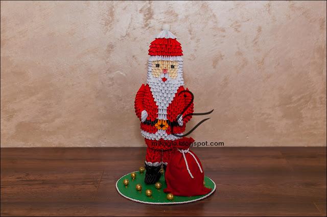 698. Mikołaj z origami / 3d origami Santa