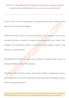 board resolution for use of premises as registered office