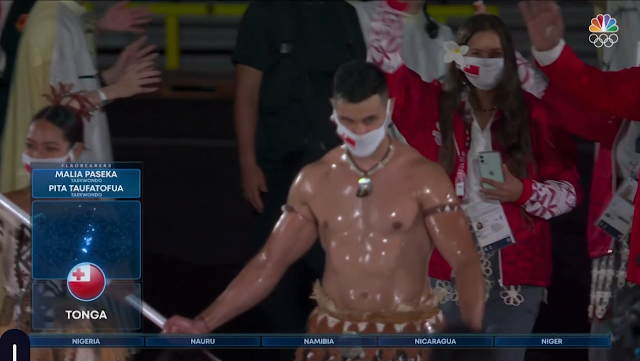 Tokyo 2021 Olympics Opening Ceremony Pita Taufatofua Tonga shirtless oiled sweaty body flag bearer