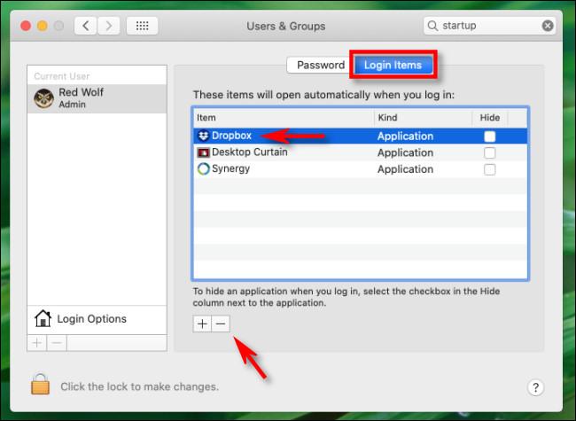 """في """"عناصر تسجيل الدخول"""" ، حدد """"Dropbox"""" من القائمة وانقر على زر """"علامة الطرح"""" في نظام Mac."""