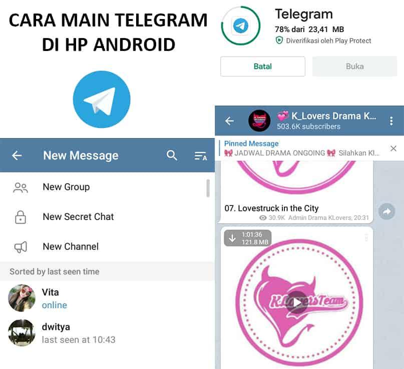cara main telegram di hp android