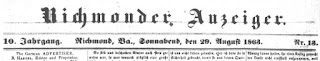 Richmonder Anzeiger. 10. Jg, Nr. 13, Sa., den 29. August 1863, S. 1