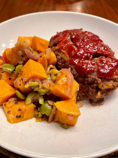dinner: meatloaf and sweet potatoes