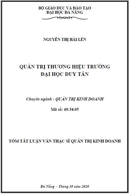 Quản trị thương hiệu trường đại học Duy Tân