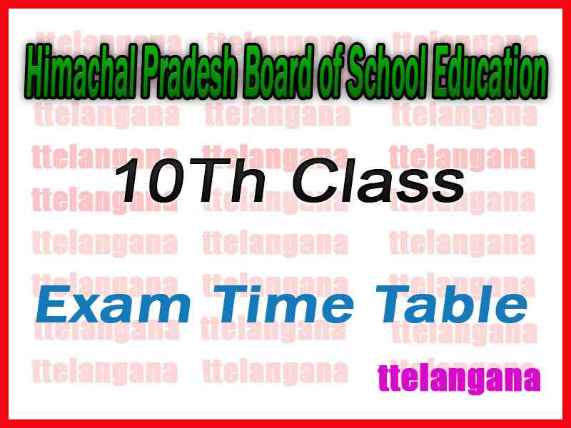 HPBOSE 10th Exam Time Table