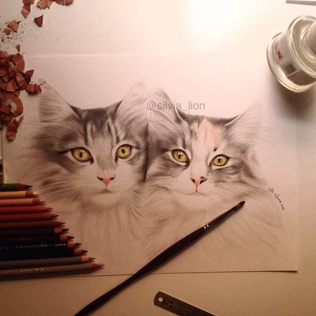 10-Ygor-&-Yvette-Silvia-Leone️️-Cats-and-Dogs-Color-Pencil-Drawings-www-designstack-co
