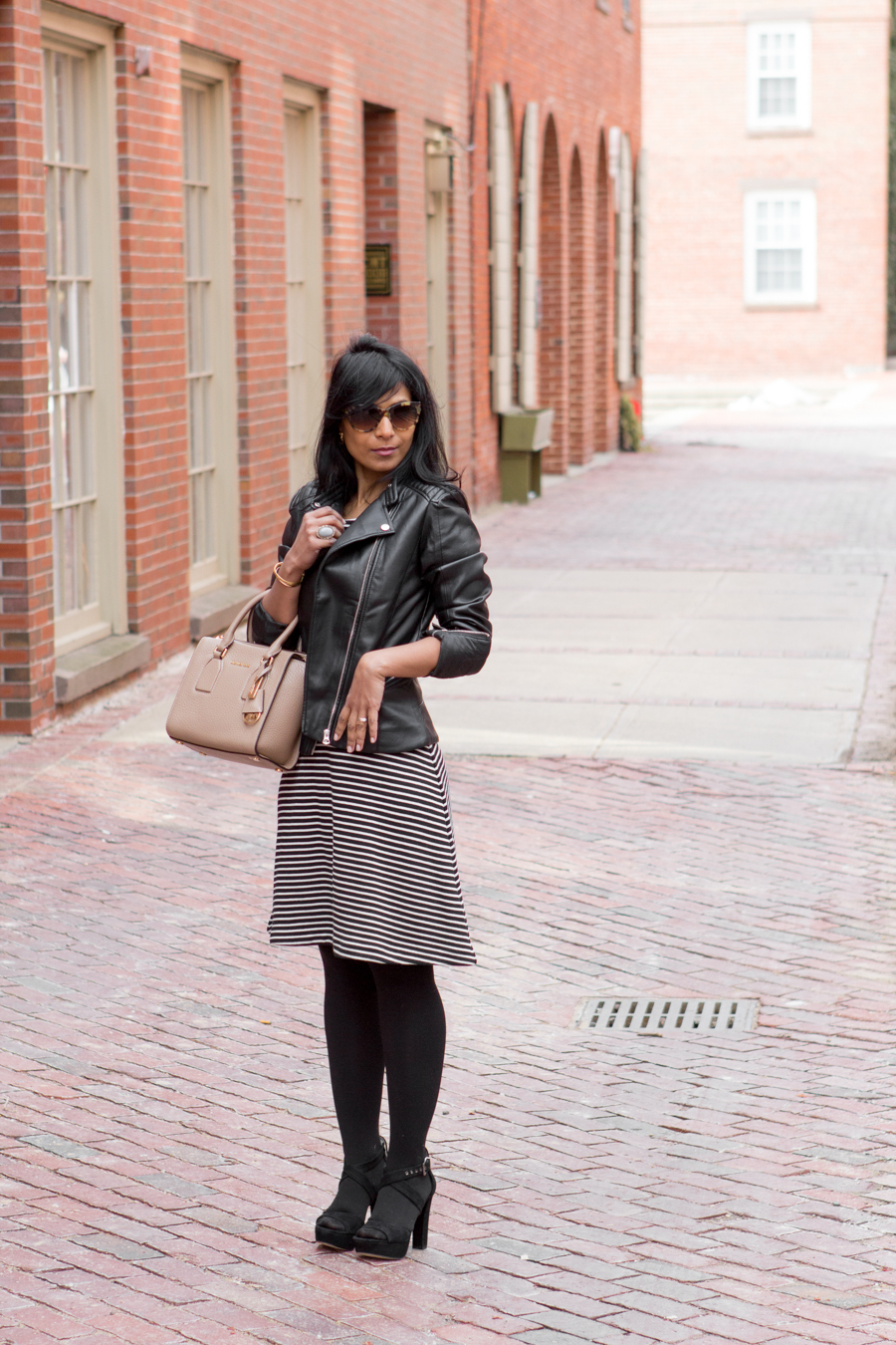 moto jacket, biker jacket, striped dress, all season dress, elongate your legs, platform shoes, look taller, look leaner