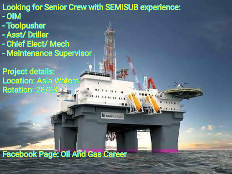 Oil and Gas Jobs: Senior Crew, SemiSub, 28/28