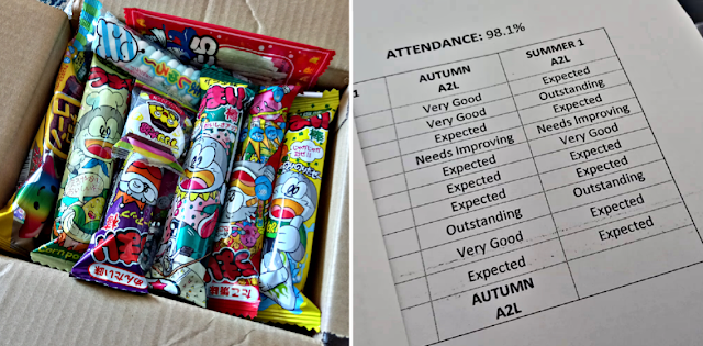 Japanese candy and a school report