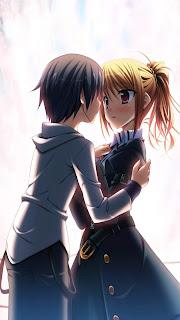 Anime Girls & Boy Love Mobile HD Wallpaper