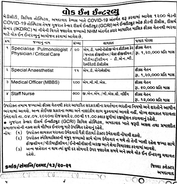 Civil Hospital Ahmedabad Recruitment for 1005 Specialist