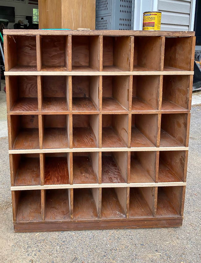 Repairing vintage wood cubby