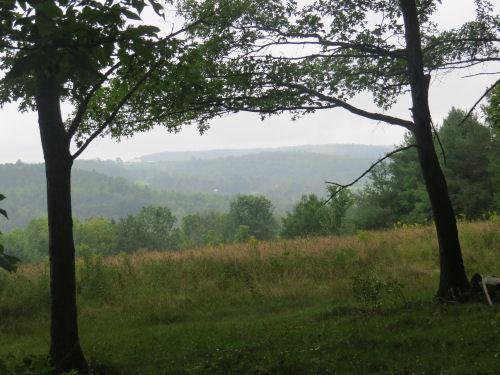 distanat hills in the rain