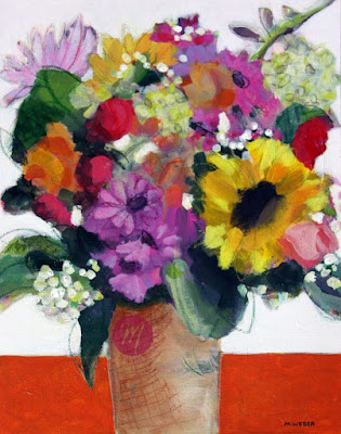 Original mixed media floral painting by Merrill Weber