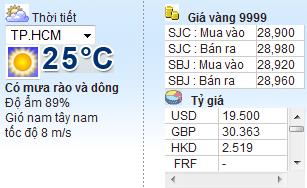 Code lấy thời tiết và giá vàng cho blog