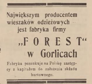 Forest Gorlice 1938 reklama