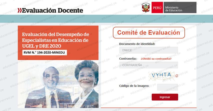 MINEDU: Aplicativo Comité de Evaluación - Evaluación del Desempeño de Especialistas en Educación de UGEL y DRE 2020 - www.minedu.gob.pe