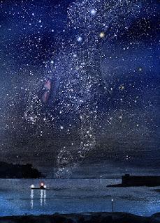 水彩画 天の川 冬の銀河。カシオペヤ座が海に沈む