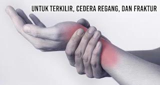 Untuk terkilir, cedera regang, dan fraktur