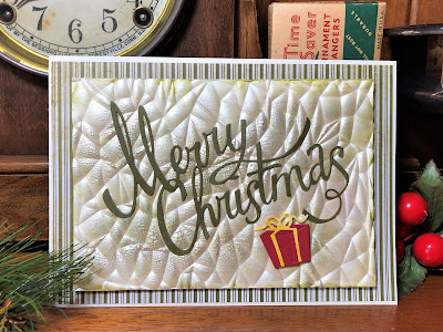 Sara Emily Barker https://sarascloset1.blogspot.com/2019/08/3d-crackle-saturday-showcase-for-funkie.html Christmas Card With Tim Holtz Crackle 3D Christmas Ribbon